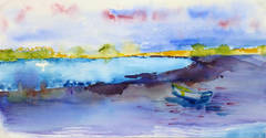 French Watercolor Landscape - Rainbow Lake