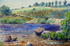 Vintage French Watercolor Landscape - Banks of Rainbow River