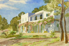 Vintage French Watercolor Landscape - French Riviera Villa