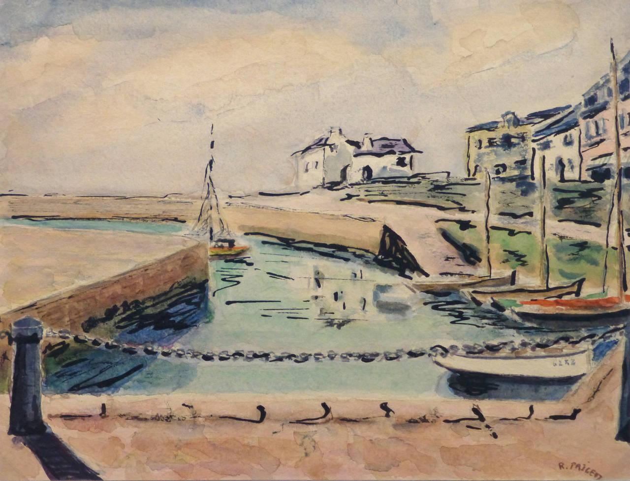 Vintage French Watercolor Landscape Painting - Port Haliguen