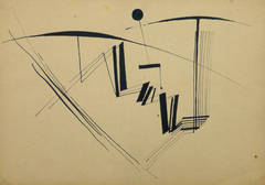 Vintage Abstract Ink Sketch - Study in Fluidity