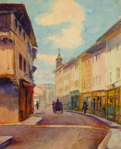 Antique French Town Watercolor Painting