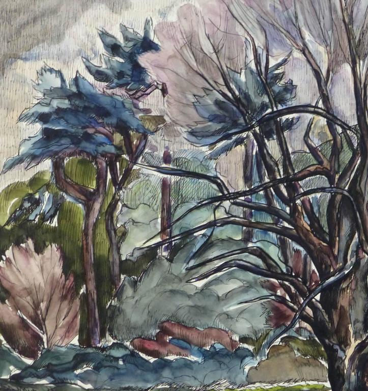 French Tree Landscape Painting - Art by Unknown