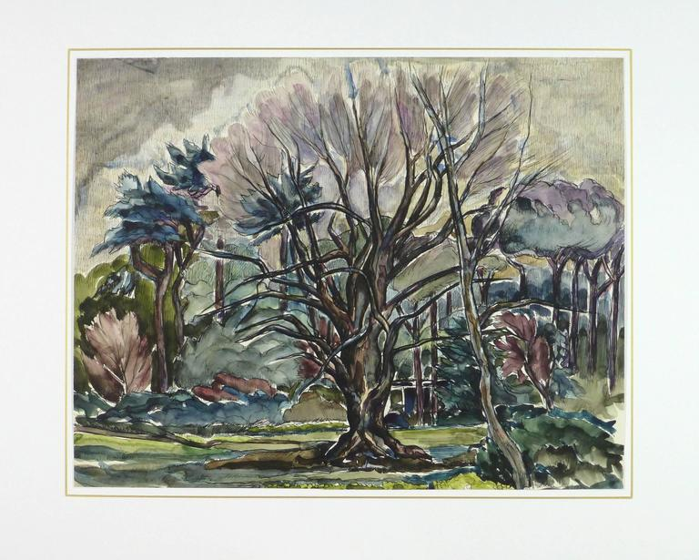 French Tree Landscape Painting - Gray Landscape Art by Unknown