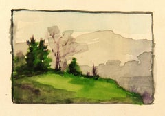 French Mountain Landscape Watercolor