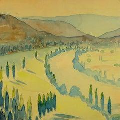 Serene Valley Watercolor