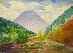 Colorful Watercolor Landscape of Idaho Springs, Colorado