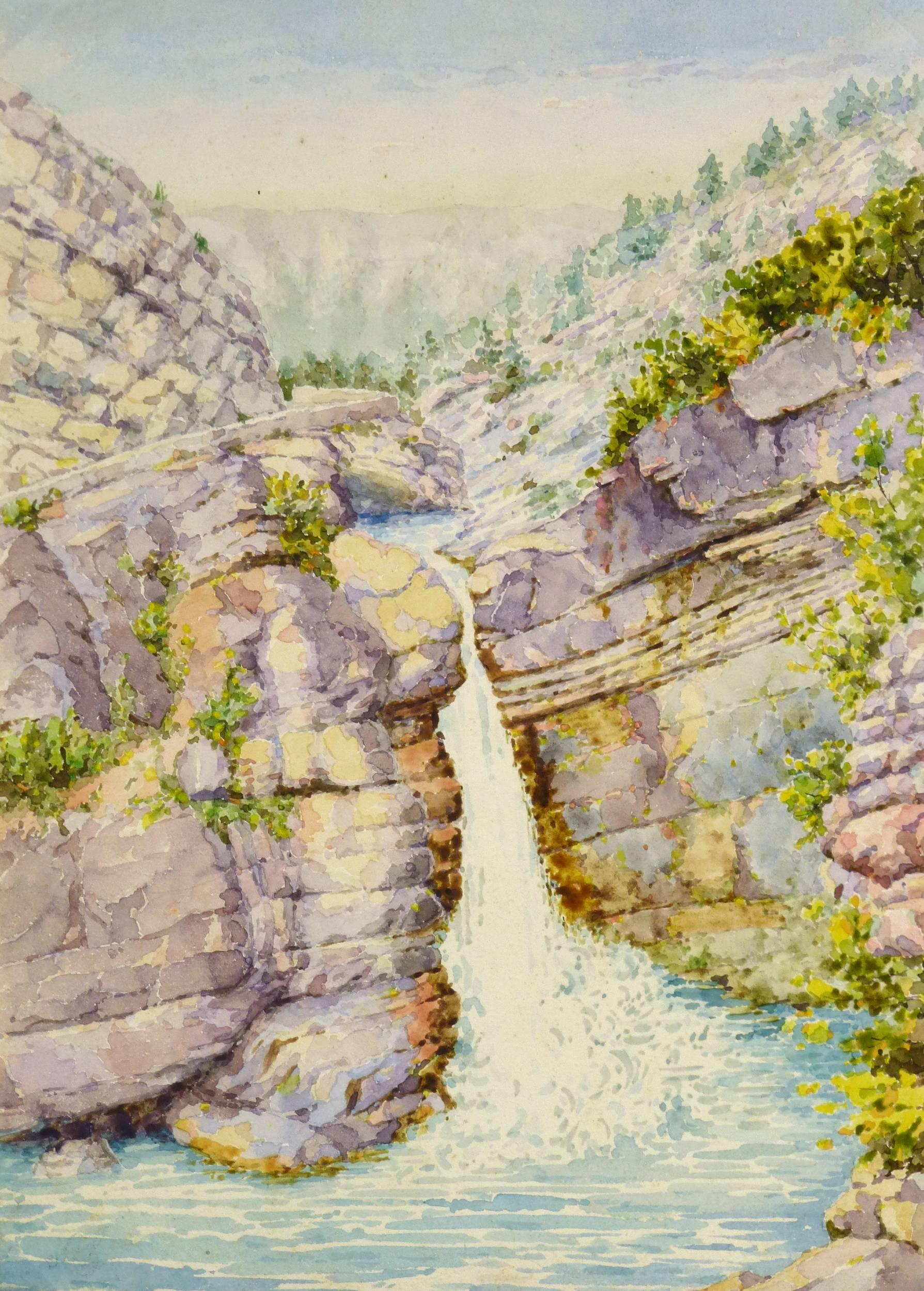 French Watercolor of Waterfall, C. 1950