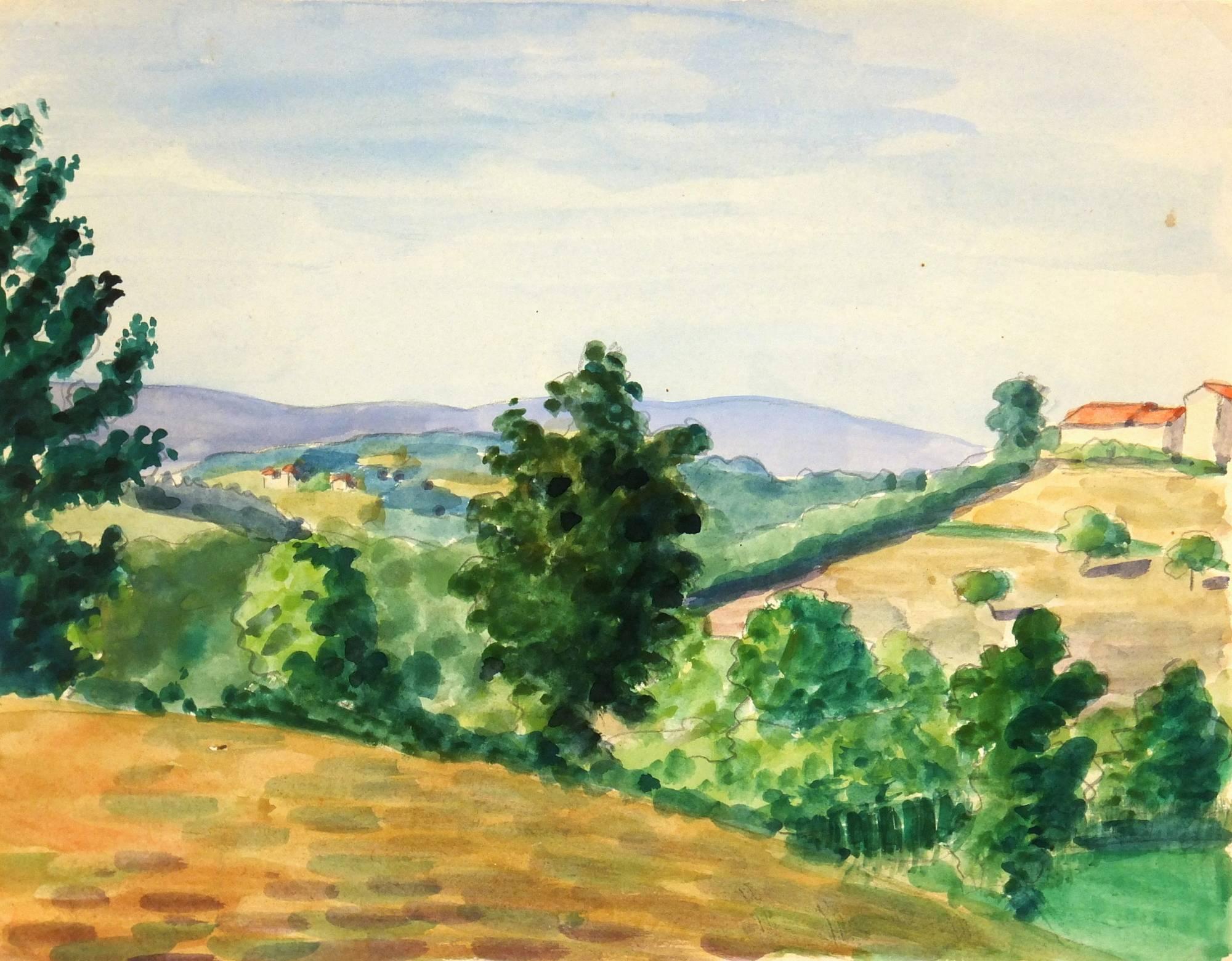 Watercolor Country Landscape, C. 1950