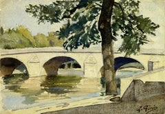 French Watercolor of Pont Royal, Paris, 1921