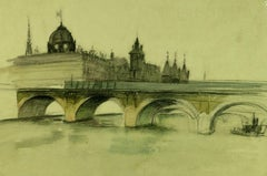 French Painting of Pont Nôtre-Dame, Paris, C. 1915