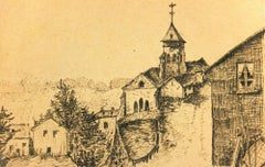 Ink Drawing of Village, C. 1910