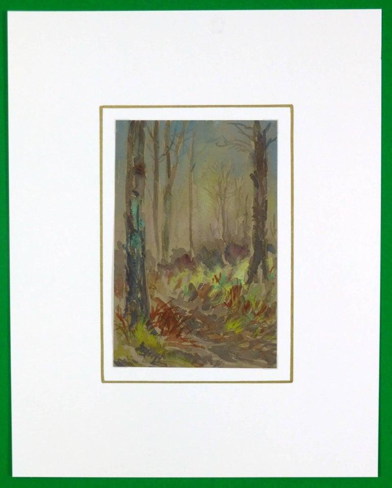 Forest Watercolor Landscape - Brown Landscape Art by Unknown