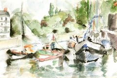 French Watercolor - Fishing Boats