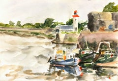 French Watercolor - Lighthouse and Fishing Boats