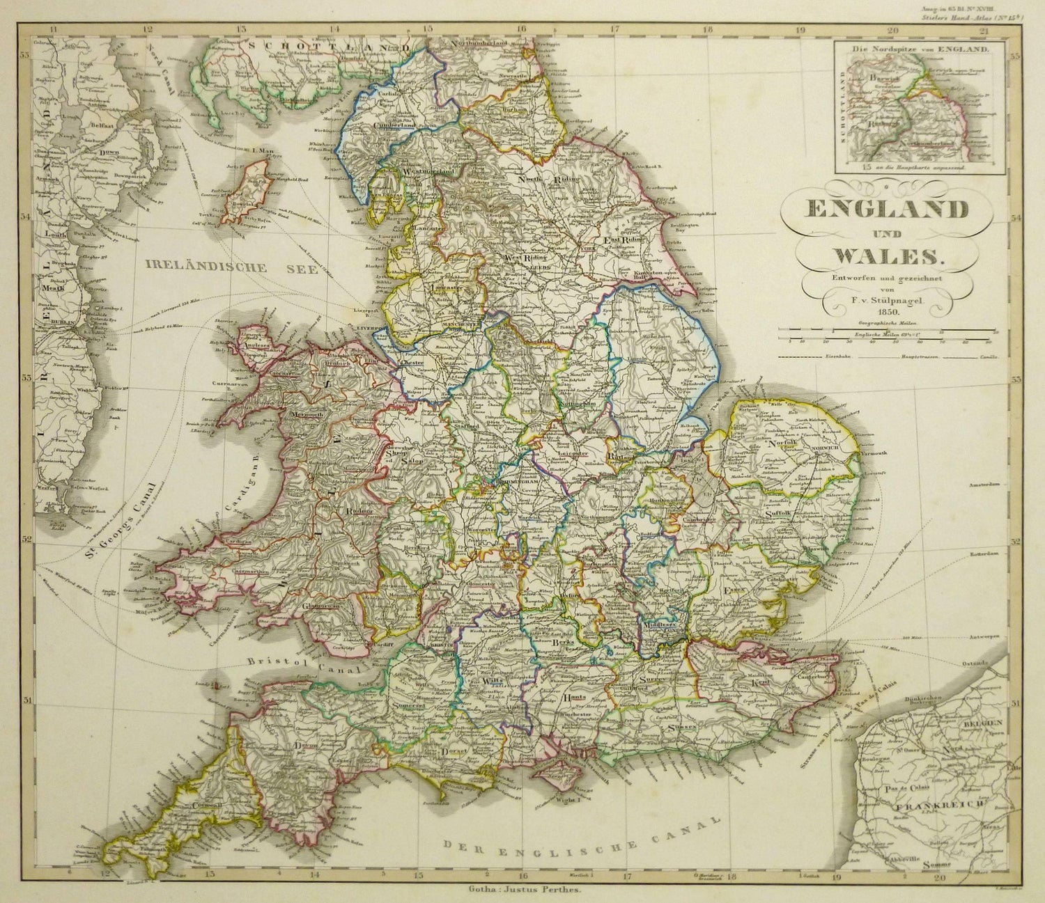 Map Of England In 1500.Map Of England Wales 1850