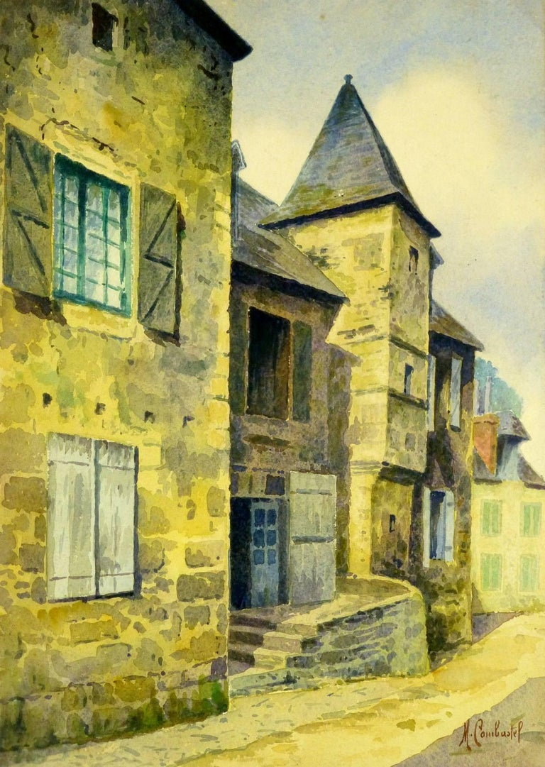 Magdeleine Combastel - Antique French Watercolor - Old Town Square ...