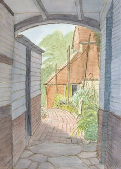 Vintage English Watercolor Landscape - Hallways Farmhouse