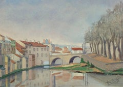 Vintage French Watercolor Landscape - Pont du Buis Bridge (Aurillac, France)