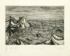 Vintage French Abstract Etching - Ocean Cliffs