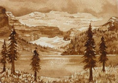 Vintage French Watercolor Landscape - Sienna Mountains
