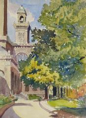 Vintage French Watercolor Landscape - Sunlit Stroll