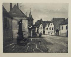 Vintage French Etching - Streets of Alsace