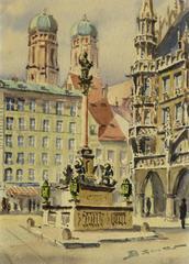 Vintage Watercolor Landscape  - City Square
