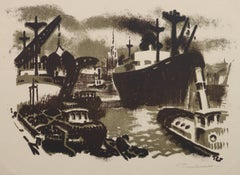 Vintage French Seascape - The Shipyard