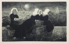 Vintage Fine Art - Women at Dock