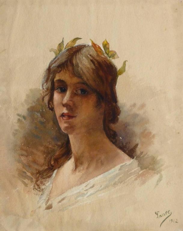 Laure Portrait - Vintage French Watercolor Painting