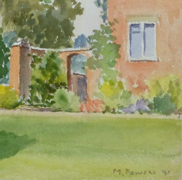 M Powell English Watercolor Landscape Garden Nook At