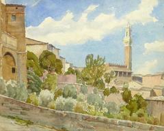 Vintage Italian Watercolor Landscape - Sienna, Italy