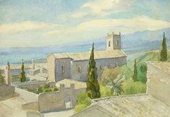 Vintage Italian Watercolor Landscape - Tuscan Coast