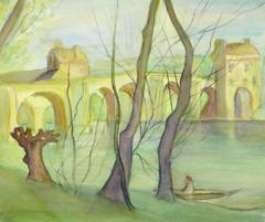 Vintage French Watercolor Landscape - Loire Valley, France