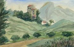 Vintage French Watercolor Landscape - Villas of Chemin des Salles