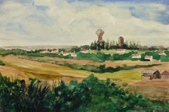 Vintage French Watercolor Landscape - Village of Bruyères, France