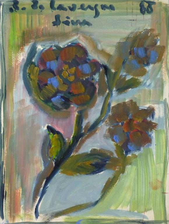 Lovely acrylic abstract painting of several small freshly picked flowers against a colorful backdrop by Sim Lavergne, 1988. Signed and dated in upper margin. Original one-of-a-kind artwork on paper displayed on a white mat with a gold border. Mat