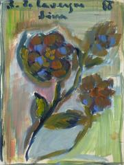 Vintage French Abstract Painting - Wildflowers