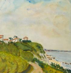 Vintage French Watercolor Landscape - Basque Coast