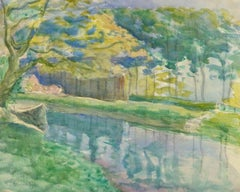 Vintage French Watercolor Landscape - Lazy River