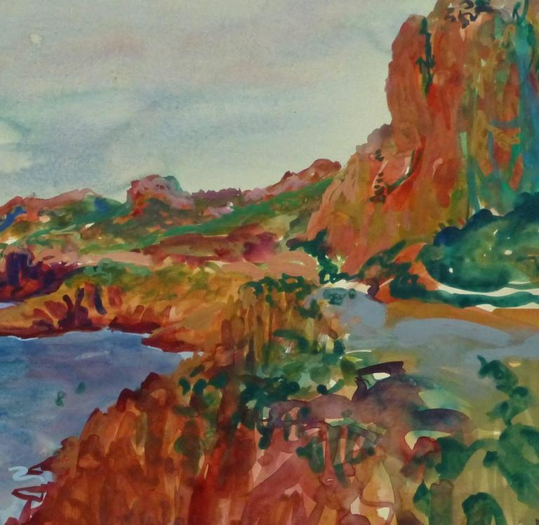 Côtes de l'Estérel - Gray Landscape Art by Stephane Magnard