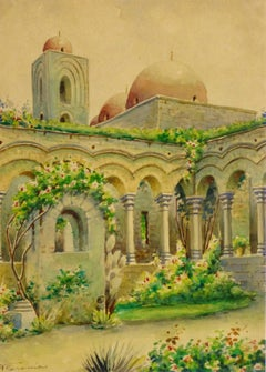 Vintage Italian Landscape - Ornate Courtyard