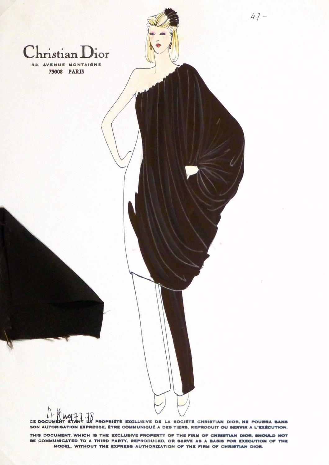 Christian Dior Vintage Christian Dior Fashion Sketch Draped Blouse At 1stdibs