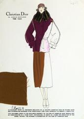 Vintage Christian Dior Fashion Sketch - Coat & Skirt