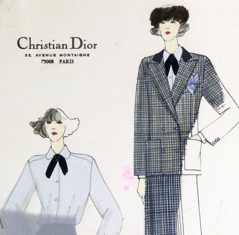 christian dior vintage chrisian dior fashion sketch