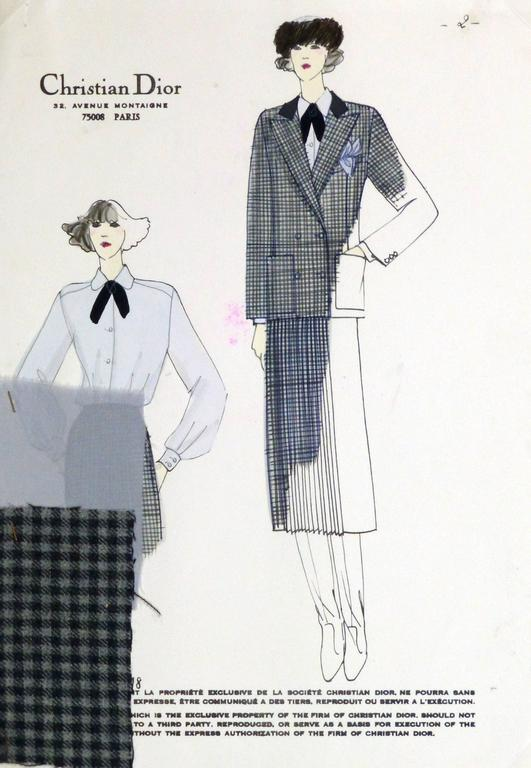 Christian Dior Vintage Chrisian Dior Fashion Sketch