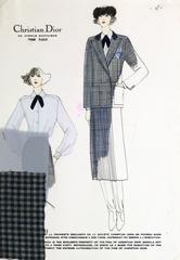 Vintage Chrisian Dior Fashion Sketch - Gingham Dress Suit