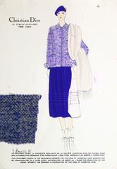 Vintage Christian Dior Fashion Sketch - Knit Wool Coat