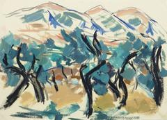 Vintage Italian Landscape - Olive Trees